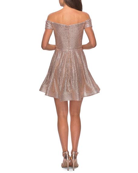 La Femme Sequin Off-the-Shoulder Short Fit-&-Flare Dress