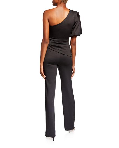 Black Halo Brenna One-Shoulder Puff-Sleeve Jumpsuit