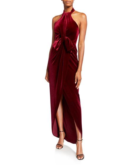 Black Halo Estelle High-Low Velvet Halter Bow Gown