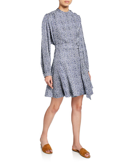 Derek Lam 10 Crosby Long-Sleeve Printed Godet-Insert Dress