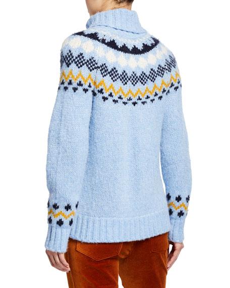 Derek Lam 10 Crosby Diagonal Fair Isle Turtleneck Sweater
