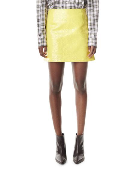 Tibi Croc Embossed Patent Mini Skirt