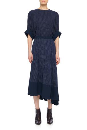 Tibi Pindot Shirred Paneled Skirt
