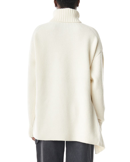 Tibi Side-Zip Ribbed Cashmere Turtleneck Sweater