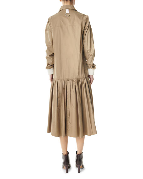 Tibi Tech Poplin Long-Sleeve Shirtdress