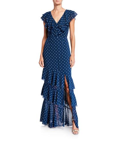Hailey Dot V-Neck Tiered Ruffle Dress