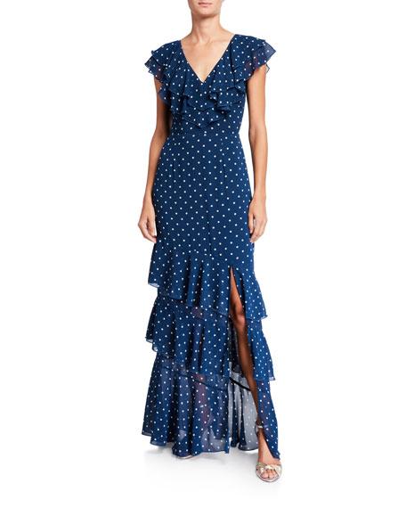 WAYF Hailey Dot V-Neck Tiered Ruffle Dress