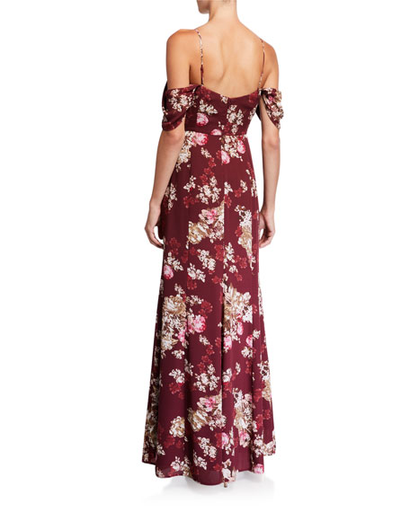 WAYF The Rachel Floral Off-the-Shoulder Gored Maxi Gown