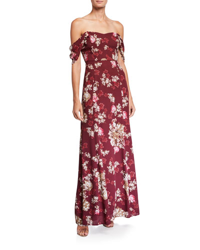 The Rachel Floral Off-the-Shoulder Gored Maxi Gown