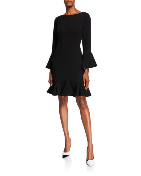 Shani Bell-Sleeve Crepe Fit-&-Flare Dress