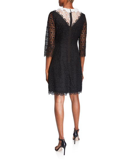 Shani Colorblock 3/4-Sleeve Lace Dress with Illusion Neckline