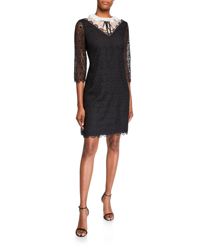 Colorblock 3/4-Sleeve Lace Dress with Illusion Neckline