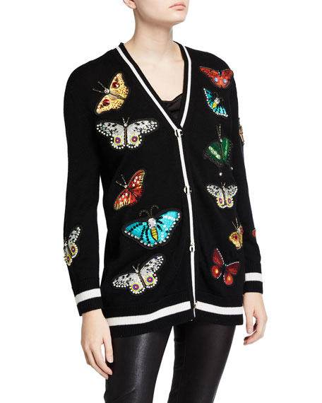 Alice + Olivia Bradford Butterfly-Embroidered Grandpa Cardigan