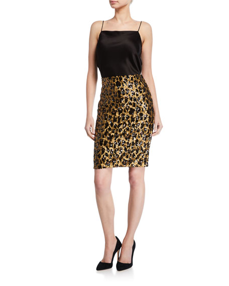Alice + Olivia Ramos Sequined Fitted Skirt