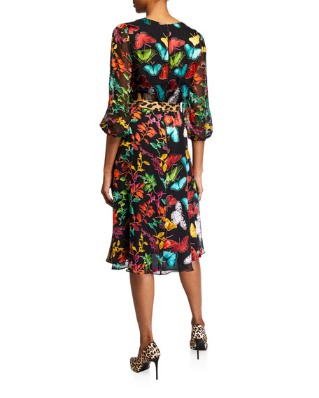 Alice + Olivia Jesse Blouson-Sleeve Midi Faux-Wrap Dress