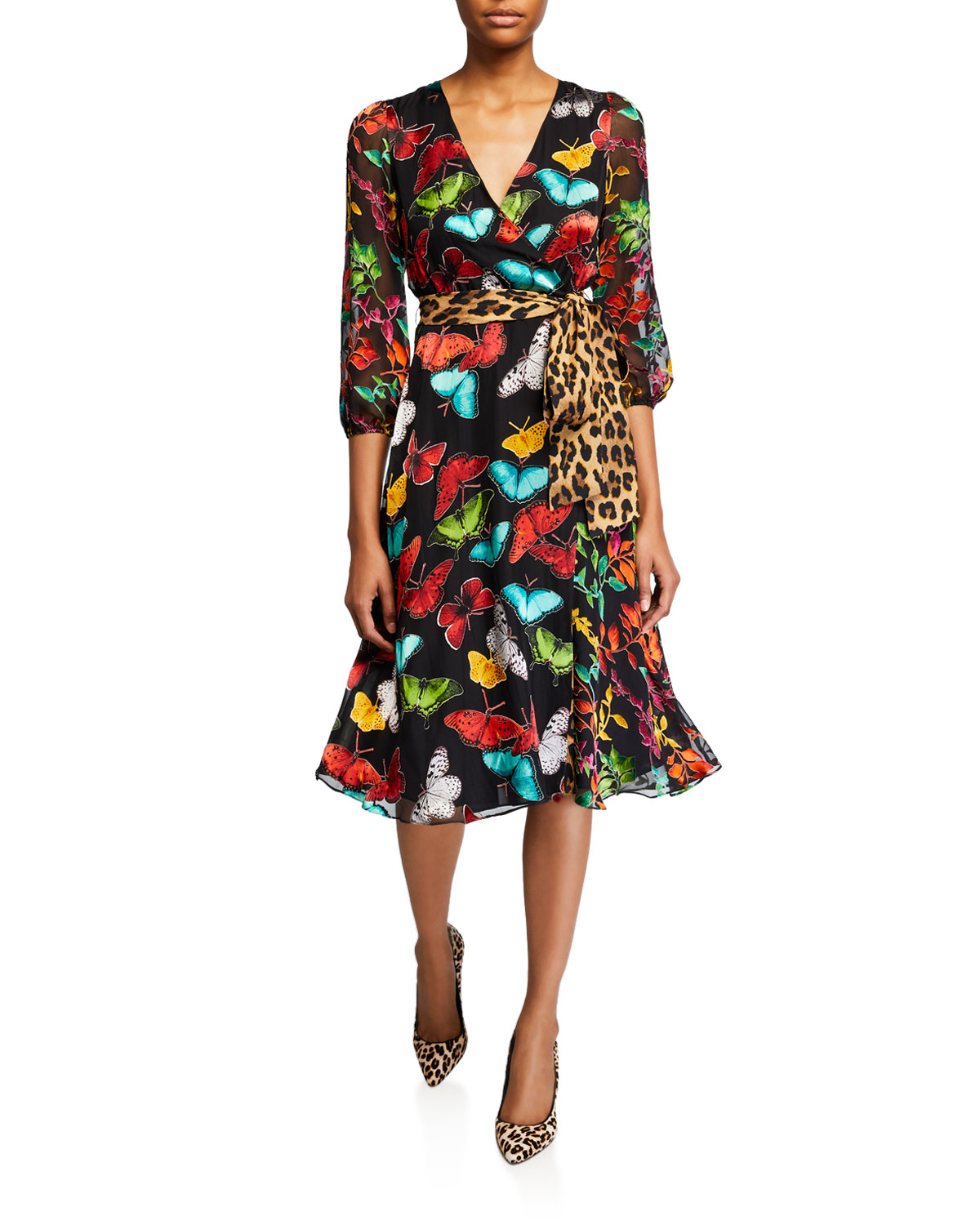 Jesse Blouson Sleeve Midi Faux Wrap Dress by Alice + Olivia