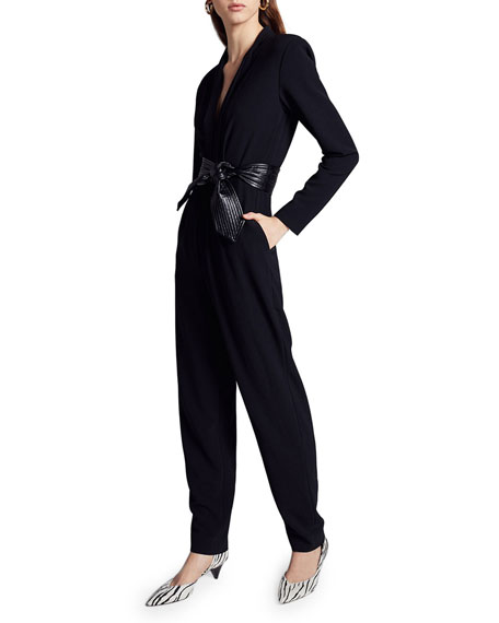 A.L.C. Kieran II Crepe Jumpsuit w/ Leather Belt