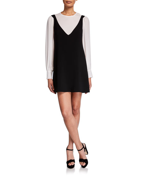 cinq a sept Mercer Layered Long-Sleeve Short Dress