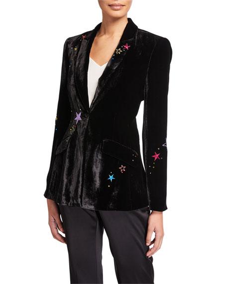 cinq a sept Estelle Velvet Star-Embroidered Blazer