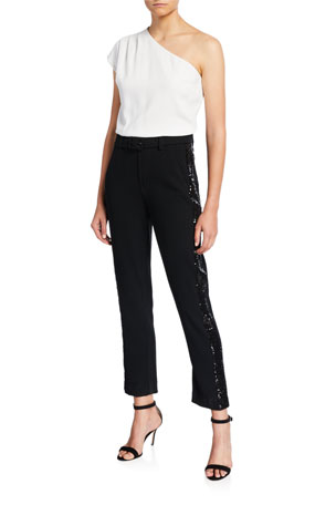 Derek Lam 10 Crosby One-Shoulder Embellished Jumpsuit