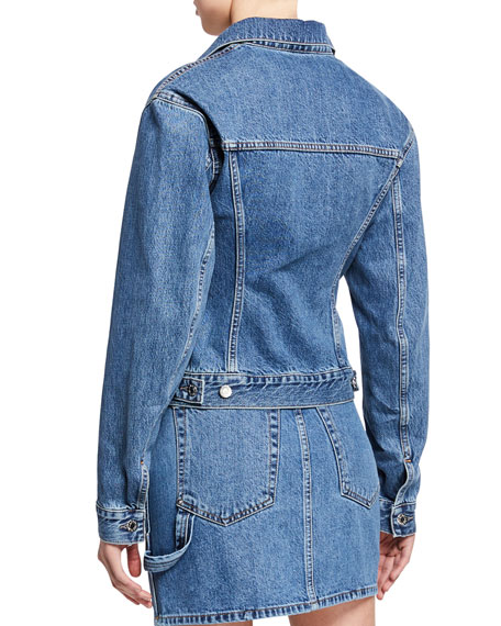 Helmut Lang Femme Trucker Button-Front Denim Jacket