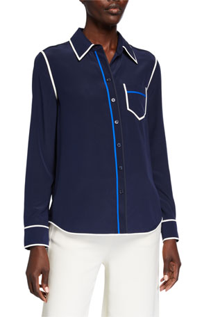 Tory Burch Contrast Binding Long-Sleeve Silk Button Down Shirt