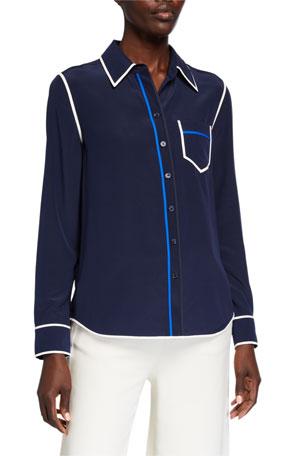 Tory Burch Contrast Binding Long-Sleeve Silk Button Down Shirt