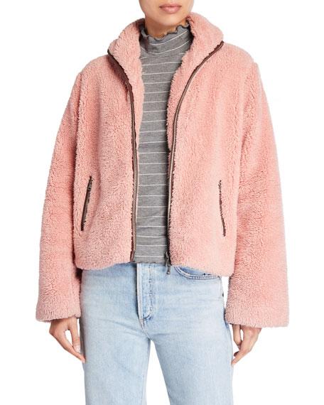 PAIGE Kahlo Fuzzy Bomber Jacket