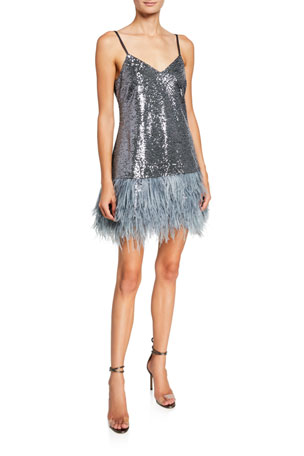 cinq a sept Athena Sequined Cocktail Dress w/ Feathers