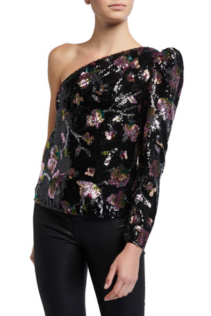 Self-Portrait Midnight Bloom One-Shoulder Sequined Top
