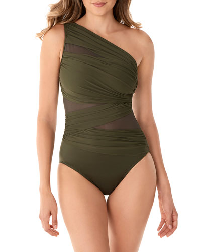Network Jena Shirred One-Shoulder One-Piece Swimsuit
