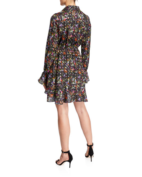 Image 2 of 2: Derek Lam 10 Crosby Long-Sleeve Floral Tie-Neck Shirt Dress