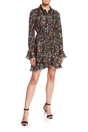 Derek Lam 10 Crosby Long-Sleeve Floral Tie-Neck Shirt Dress