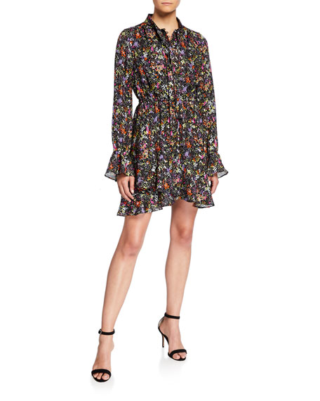 Image 1 of 2: Derek Lam 10 Crosby Long-Sleeve Floral Tie-Neck Shirt Dress