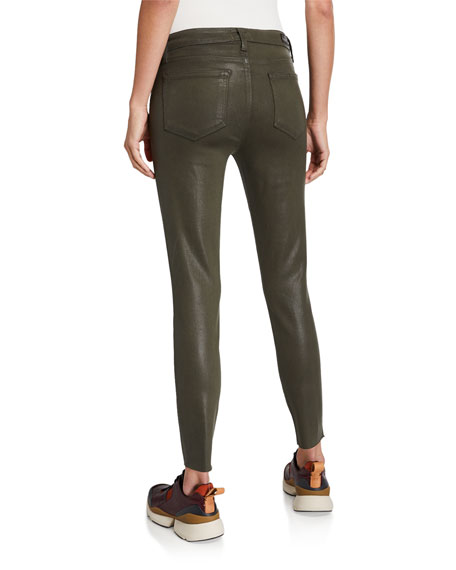 PAIGE Verdugo Coated Mid-Rise Ankle Skinny Jeans w/ Raw Hem