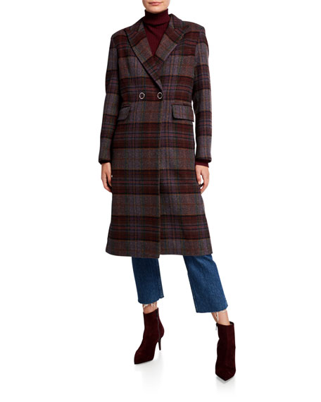 Kendall + Kylie Plaid-Wool Double-Breasted Snap-Front Coat, Purple