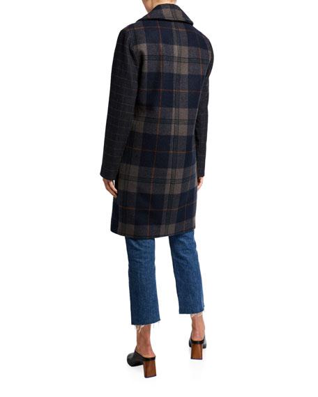 Kendall + Kylie Plaid Wool Drop Shoulder Coat