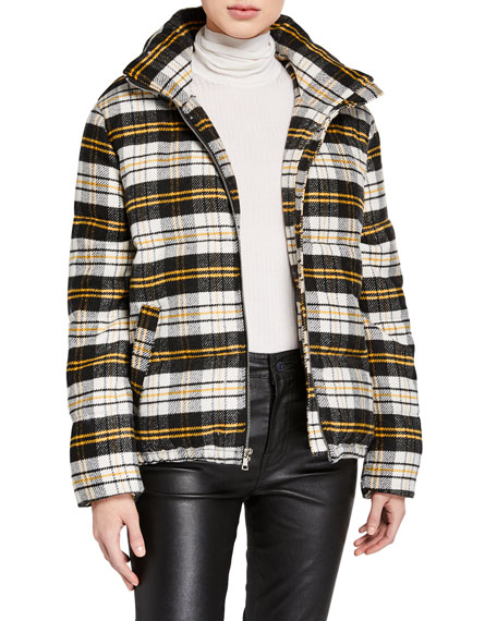 Kendall + Kylie Plaid Cropped Puffer Jacket