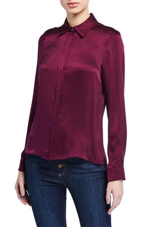 Alice + Olivia Willa Silk Placket Shirt