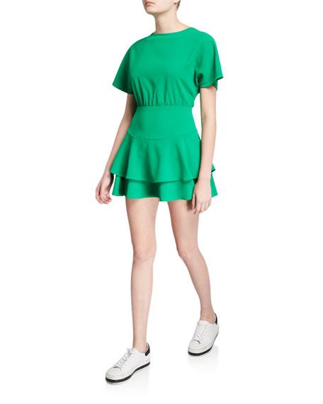 Alice + Olivia Palmira Short-Sleeve Tie-Back Tiered Ruffle Dress