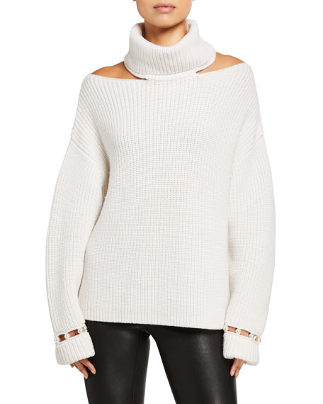 Alice + Olivia Lara Cold-Shoulder Pearl Pullover
