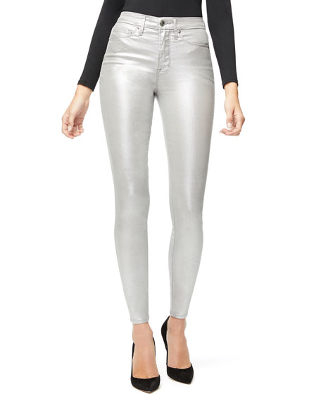Image 3 of 5: Good American Good Waist Metallic Coated Skinny Jeans - Inclusive Sizing