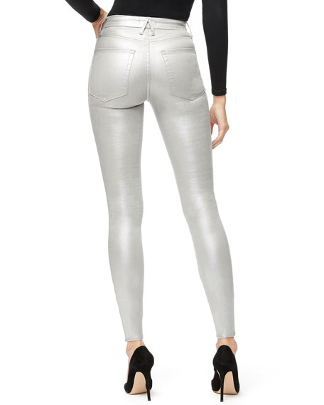 Image 4 of 5: Good American Good Waist Metallic Coated Skinny Jeans - Inclusive Sizing