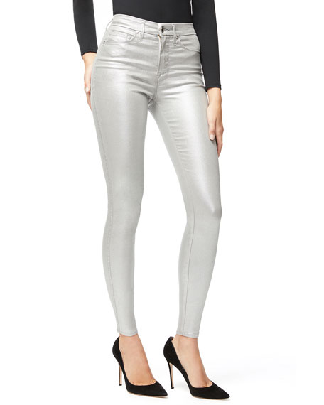 Image 1 of 5: Good American Good Waist Metallic Coated Skinny Jeans - Inclusive Sizing