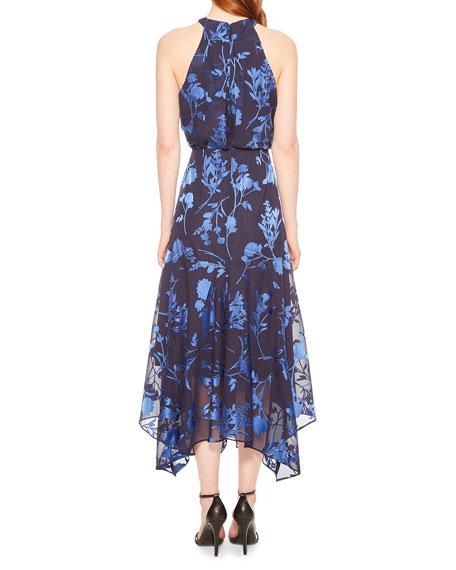 Parker Black Sierra Georgette Halter Dress with Floral Burnout Detail