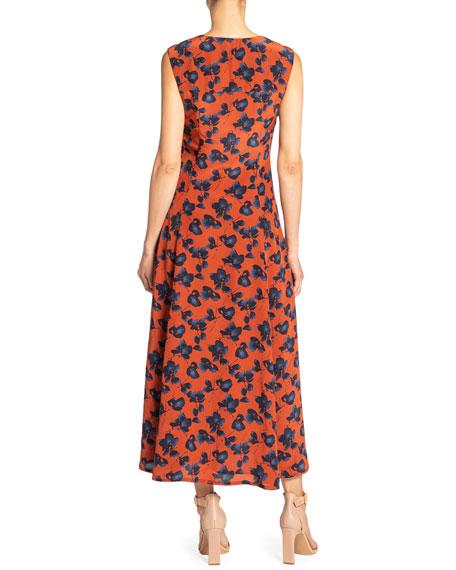Santorelli Silvia Floral V-Neck Sleeveless Midi Dress