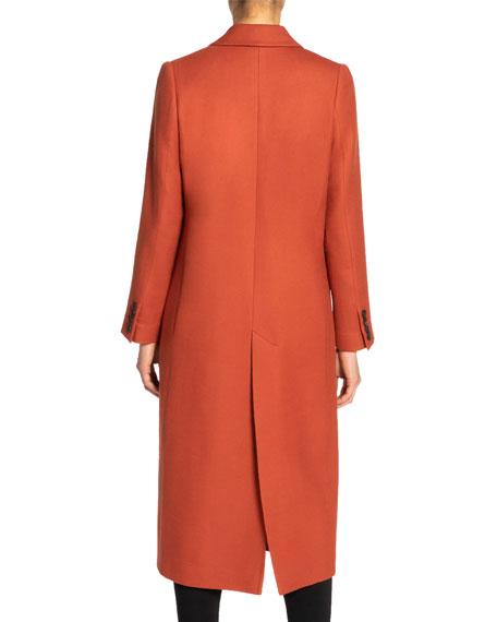 Santorelli Tammy Single-Button Notch Lapel Long Wool Twill Coat