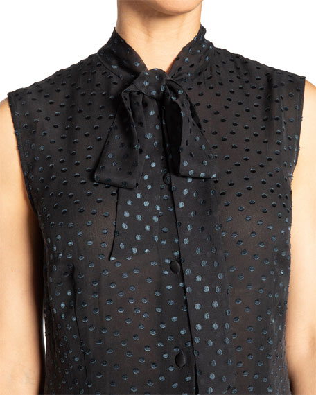 Santorelli Teca Swiss Dot Sleeveless Silk Chiffon Top w/ Neck-Tie