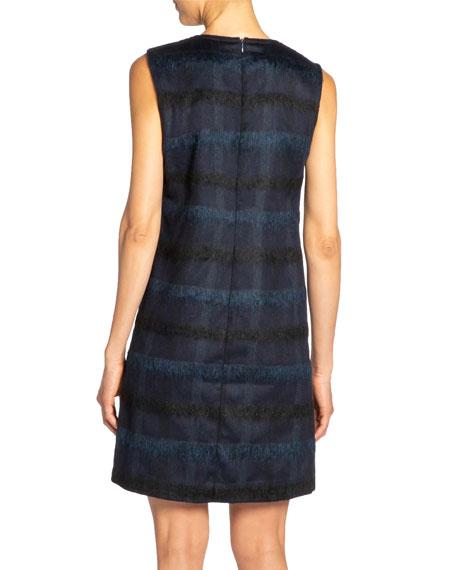 Santorelli Renee Tonal Plaid Wool Sleeveless Sheath Dress with Pockets
