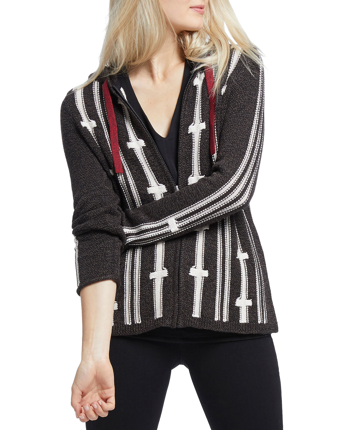 New Tracks Striped Zip Front Hooded Cardigan by Nic+Zoe